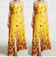 Womens Strappy Split Boho Summer Beach Evening Long Maxi Dress Sundress CHK