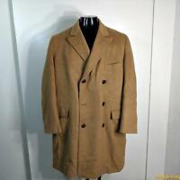 Vtg Long Wool Cashmere Coat Overcoat Mens Size L 42 Camel