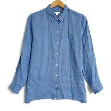 J Jill Womens Love Linen Essential Button Up Long Sleeve Shirt Size Large Blue