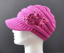 C.C Exclusives Knit Hot Pink Hat Cap Flower Ribbon Sequin Brim Beanie Visor P8