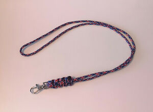 Union Jack Handmade Cobra Weave Paracord Lanyard incl clasp, ideal for ID cards