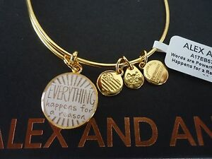 Alex and Ani EVERYTHING HAPPENS FOR A REASON II Shiny Gold BangleTag Card & Box