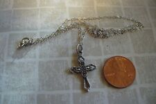 Fabulous Sterling Silver Marcasite CROSS Necklace
