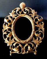 Brass Ornate Open Work Oval Picture Frame ORMOLU Raised Relief