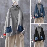 ZANZEA Femme Cardigans Haut Poches Patchwork Manche Longue Boutons Ample Plus