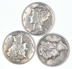 Lot of 3 AU/Unc 1942-S, 1944-D, 1945 Mercury Dimes 90% Silver Collection *255