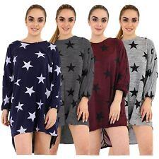 New Womens Oversized Star Print High Low Dip Hem Baggy Top Dress 8-18