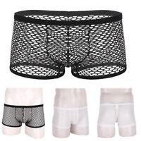 Fishnet Boxer Briefs Mens Mesh Sheer Underpants Shorts Pouch Breathable Panties