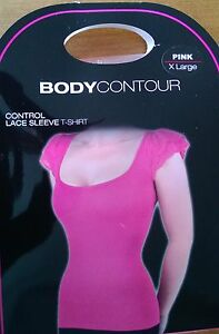 BNIB Body Contour Slimming Body Pink T-Shirt Vest With Lace Sleeves