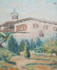 Antique oil painting landscape monastery