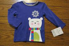 Girl Sz 12 mo Long Sleeve Shirt Purple w/Glitter Bear 100% Cotton Carter's NWT