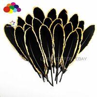 NEW 10-100pcs Gold Dipped Black goose feather 15-20CM DIY Crafts Cap Headdress