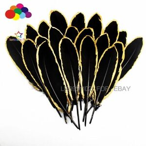 NEW 10-100pcs Gold Dipped Black goose feather 15-20CM DIY Crafts Cap Headdress