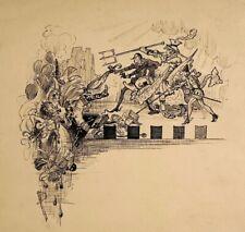 J.P. DONNE Antique unfrmd Pen & Ink Drawing Satirical Theater Scene Illustration