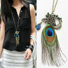 Sexy Fashion Women Vintage Retro Peacock Pendant Sweater Long Chain Necklace TR