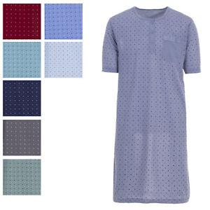 Herren Nachthemd kurz Knopfleiste mit Brusttasche Schlafshirt Größe M L XL XXL