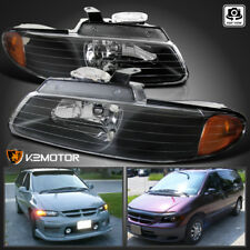 1996-2000 Dodge Caravan Chrysler Town & Country Voyager Black Amber Headlights