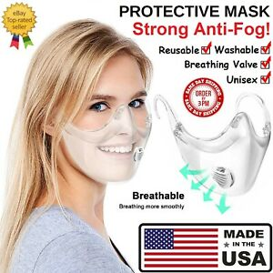 CLEAR Face Mask Shield Plastic Protective Reusable Cover Transparent Anti Fog