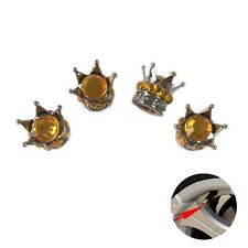 Silver Crown Gold Stones  Car Wheel Air Tyre Valve Dust Caps Covers  Set of 4