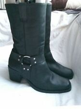MISS SELFRIDGE BLACK LEATHER COWBOY WINTER BLOCK HEEL MID-CALF BOOTS SIZE UK 8