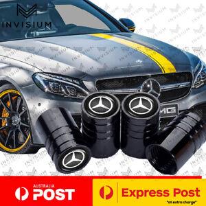 BLACK Tyre Stems Valve Dust Caps for MERCEDES Benz Car AMG CLA GLE C63 E63 GLA