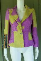 CHRISTIAN LACROIX Purple Lime Jacquard Cotton Silk Blazer 36 US 2