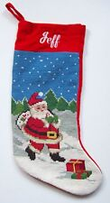 Needlepoint Christmas Stocking for JEFF ~ Santa with Pack ~ Winter Scene