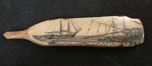 "Ancient Fossilized Fragment Scrimshawed w/ Schooner. 4"" long"