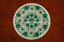 "18"" Marble Coffee Tables Real Malachite Inlaid Pietra Dura Handmade Home Decor"