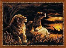 Riolis  1142  Lions dans la Savane  Broderie  Point de Croix  compté