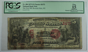 1875 $5 Hoosick Falls New York NY National Bank CH# 2471 Fr. 404 PCGS F-15