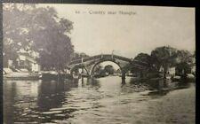 1900 -1910s  China Country near Shanghai Bridge River - old  postcard