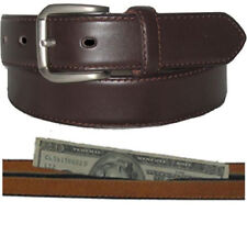 LEATHER  MONEY BELT ZIPPER NEW BROWN SAFE SIZE XL SYLISH CASUAL BUCKLE