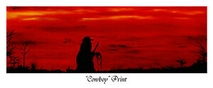 """""""Cowboy"""", Print of oil painting by Robert Marquiss, white border, no frame"""