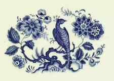 "8 Oriental Blue Pheasant   2 1/4"" X 1 1/2""  Waterslide Ceramic Decals Tx"