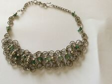 Beautiful Choker Silver Coloured Metal Filigree Style With Green Stones New