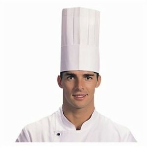 """10 x Chef Hats White Paper Disposable 11.5""""  29cm Adjustable One Size Fits All"""