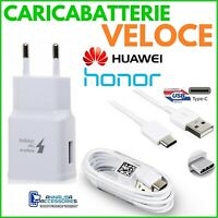 CARICABATTERIE VELOCE FAST CHARGER per HUAWEI HONOR 9X PRESA USB + CAVO TIPO C