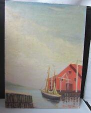 Vintage Oil on Board Painting Signed Noel J Cortes 1941 Sailboat Dock Building