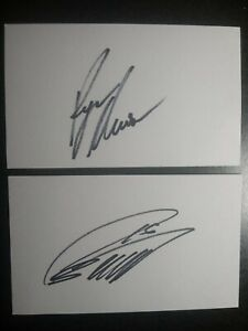 RYAN NEWMAN & GREG BIFFLE 2 Hand Signed 3X5 INDEX CARD 'S - RACE CAR DRIVERS