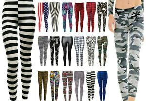 Womens Ladies Printed Full Length Stretchy Leggings Skinny Jeggings Casual Pants