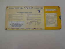 Carpenter Stainless Steel Machinist Slide Rule Calculator 1950's