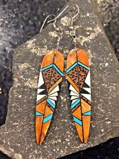 Native American Spiny Oyster Inlay Feather Arrowhead Huge Dangle Earrings