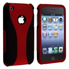 RED BLACK 3-PIECE HARD CASE COVER for APPLE iPHONE 3G S 3GS