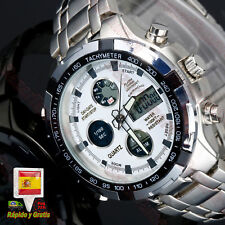 504401b8d399 Reloj hombre Analogico digital Deportivo acero Inox. alarma luz cronometro  fecha