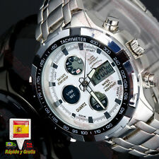9f382bbbc89b Reloj hombre Analogico digital Deportivo acero Inox. alarma luz cronometro  fecha