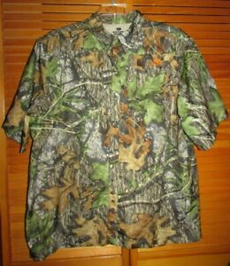 Mossy Oak Obsession SS hunting camo vented button shirt XL 46/48 chest49 L29 EUC