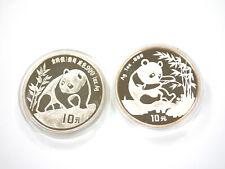 "Lot - 2 Münzen - VR China - ""Panda"" - 10 Yuan - 2 Oz Feinsilber - 1990 + 1994"