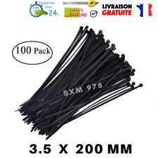 100 Serres Cable 3.5x200mm Autobloquant Collier Nylon Noir Serrage Attache Zip