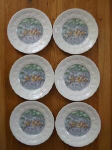 """6 Gien France Les Saveurs Les Fromages Salad Plates 8 1/2"""" Mint Cond"""